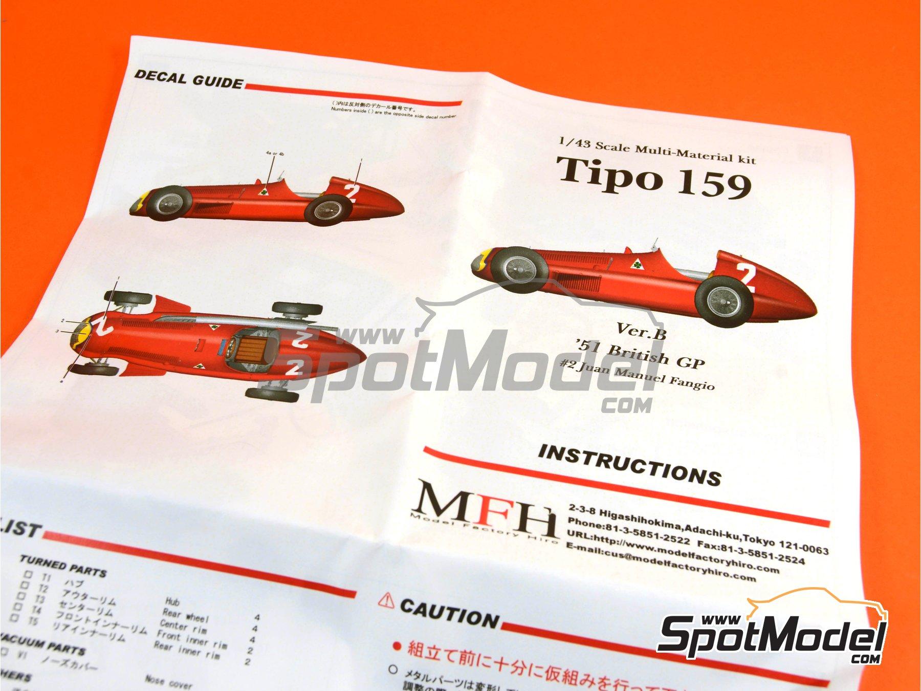 Image 13: Alfa Romeo Tipo 159 - Gran Premio de Fórmula 1 de Inglaterra 1951 | Maqueta de coche en escala1/43 fabricado por Model Factory Hiro (ref.MFH-K388, tambien K-388)