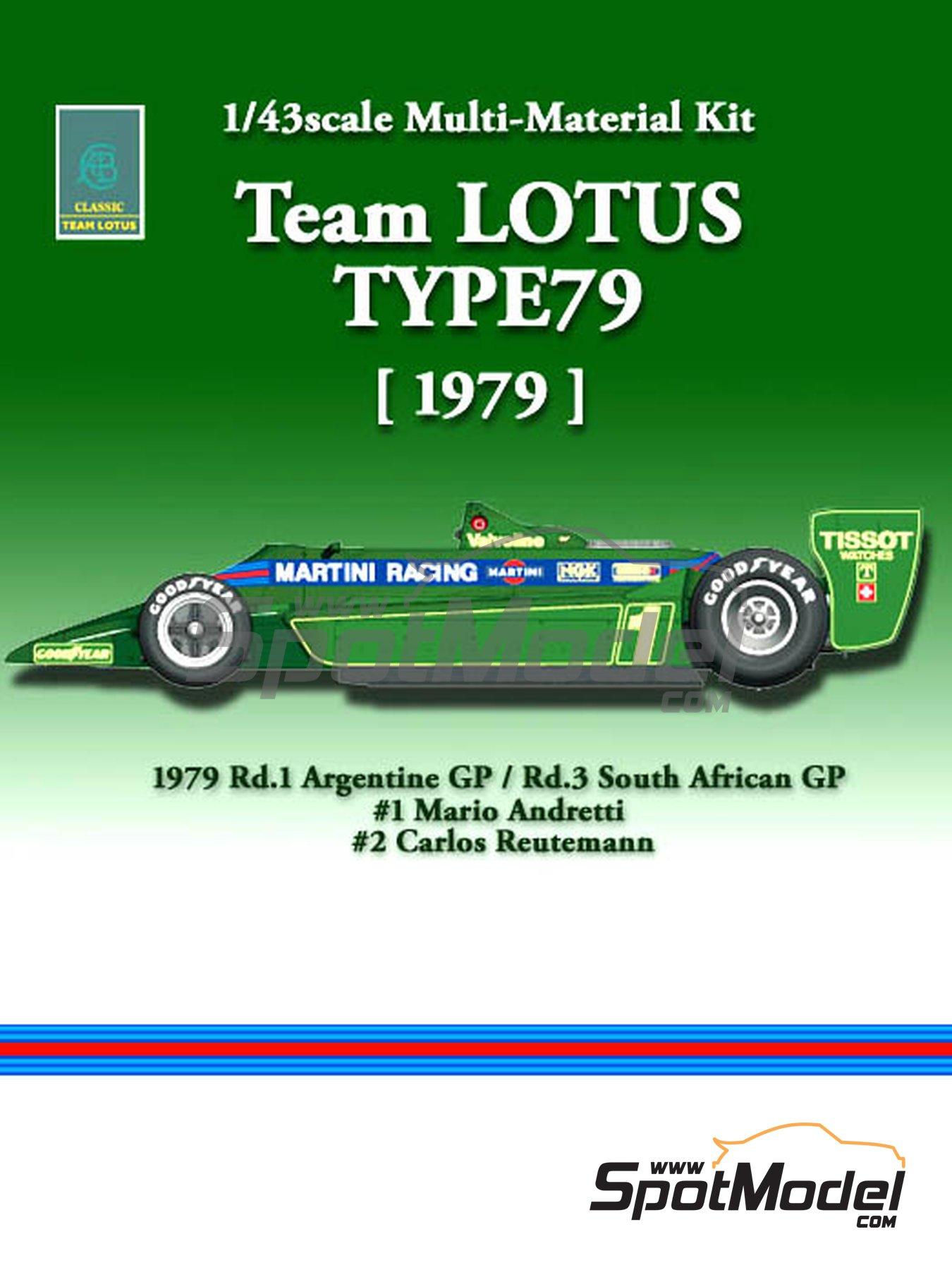 Lotus Ford Type 79 Martini - Gran Premio de Argentina de Formula 1, Gran Premio de Fórmula 1 de Sudafrica 1979   Maqueta de coche en escala1/43 fabricado por Model Factory Hiro (ref.MFH-K389, tambien K-389) image