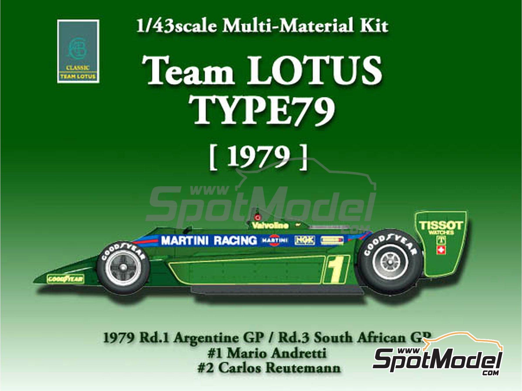 Image 1: Lotus Ford Type 79 Martini - Gran Premio de Argentina de Formula 1, Gran Premio de Fórmula 1 de Sudafrica 1979   Maqueta de coche en escala1/43 fabricado por Model Factory Hiro (ref.MFH-K389, tambien K-389)