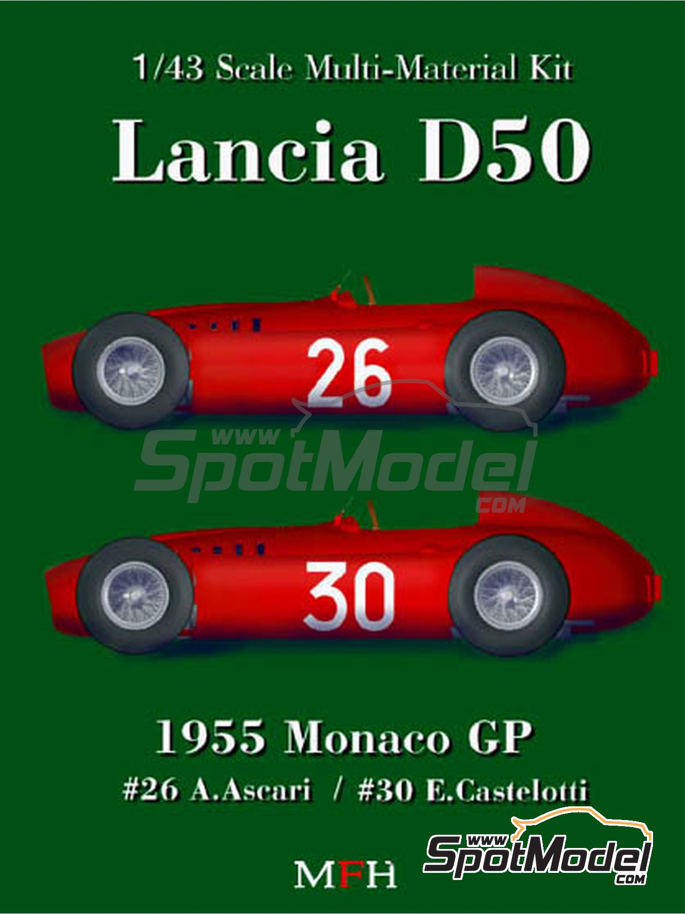 Lancia D50 - Monaco Formula 1 Grand Prix 1955 | Model car kit in 1/43 scale manufactured by Model Factory Hiro (ref. MFH-K395, also K-395) image