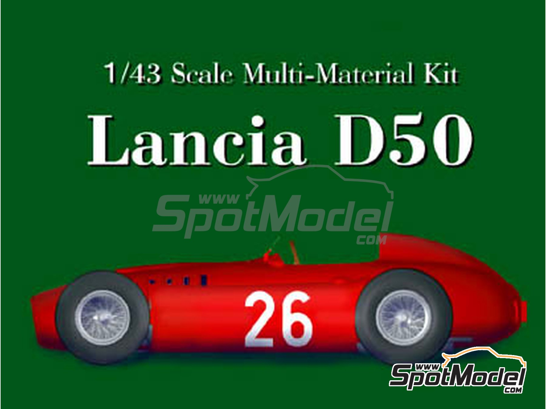 Image 1: Lancia D50 - Monaco Formula 1 Grand Prix 1955 | Model car kit in 1/43 scale manufactured by Model Factory Hiro (ref. MFH-K395, also K-395)