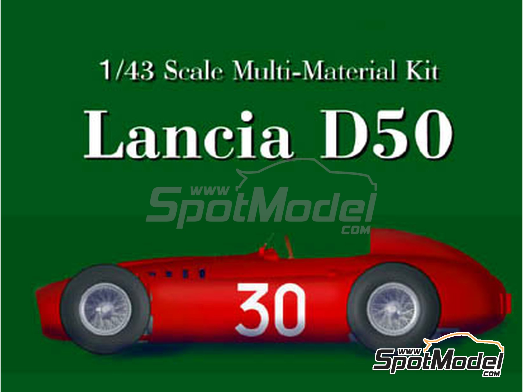Image 2: Lancia D50 - Monaco Formula 1 Grand Prix 1955 | Model car kit in 1/43 scale manufactured by Model Factory Hiro (ref. MFH-K395, also K-395)