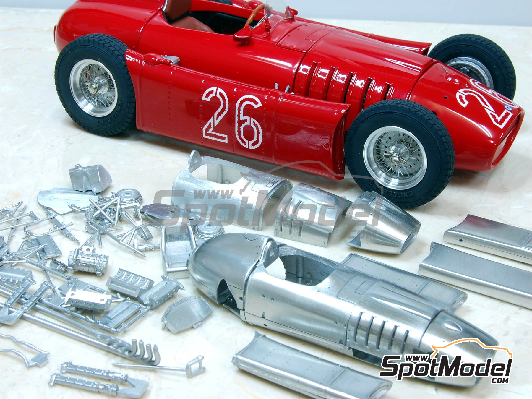 Image 3: Lancia D50 - Monaco Formula 1 Grand Prix 1955 | Model car kit in 1/43 scale manufactured by Model Factory Hiro (ref. MFH-K395, also K-395)