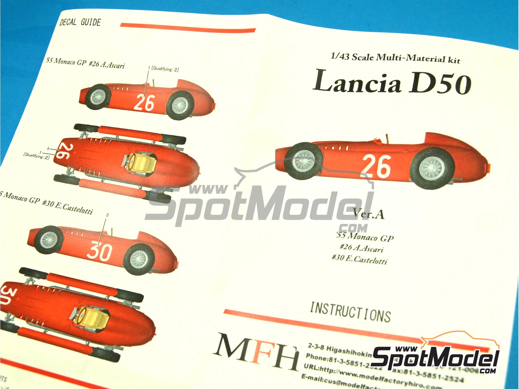 Image 7: Lancia D50 - Monaco Formula 1 Grand Prix 1955 | Model car kit in 1/43 scale manufactured by Model Factory Hiro (ref. MFH-K395, also K-395)