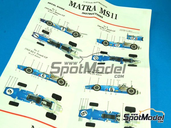 Image 2: Matra MS11 ELF - Dutch Formula 1 Grand Prix 1968 | Model car kit in 1/43 scale manufactured by Model Factory Hiro (ref.MFH-K412, also K-412)