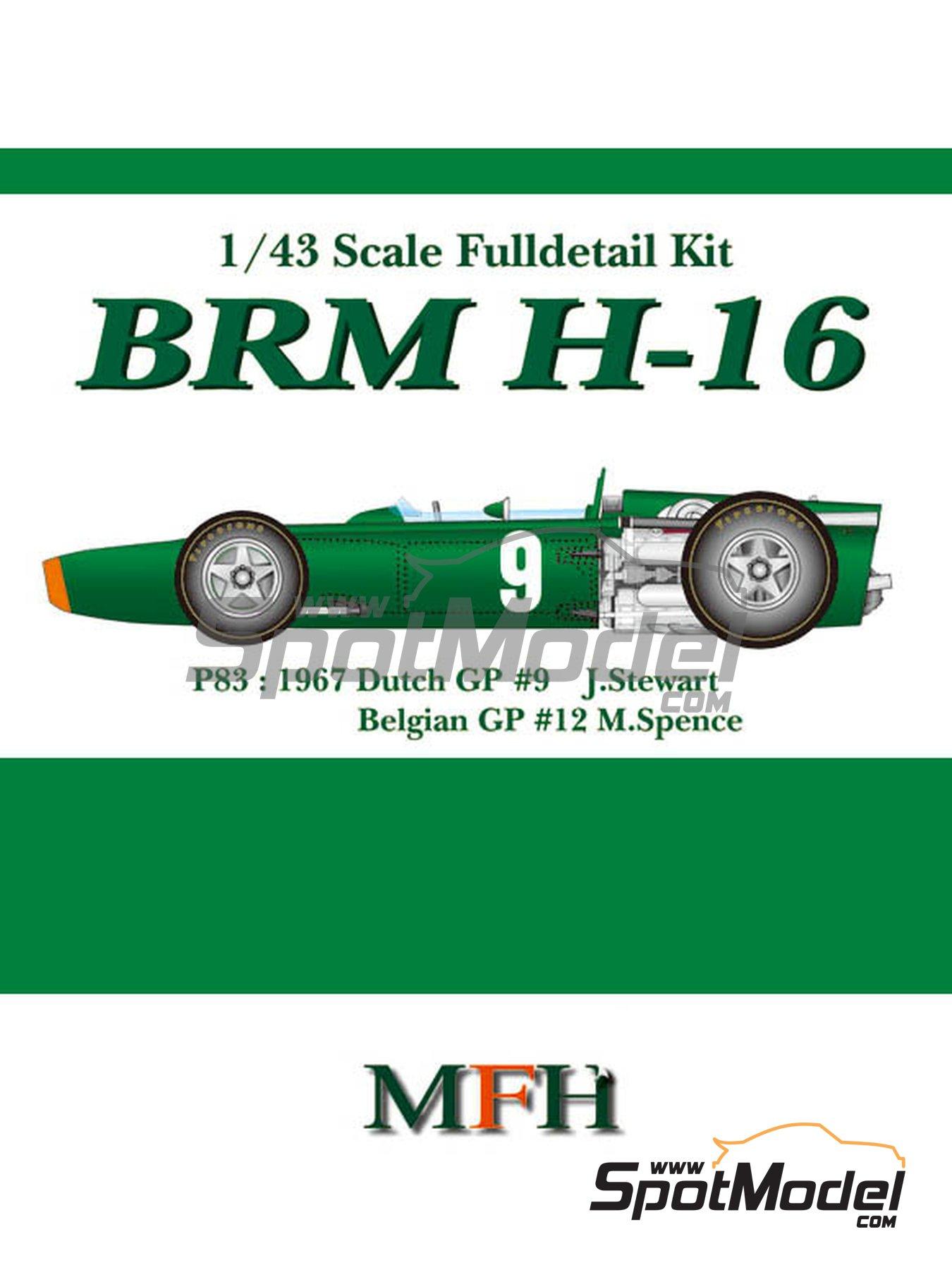 BRM H-16 - Gran Premio de Fórmula 1 de Belgica, Gran Premio de Formula 1 de Holanda 1967 | Maqueta de coche en escala1/43 fabricado por Model Factory Hiro (ref.MFH-K415, tambien K-415) image
