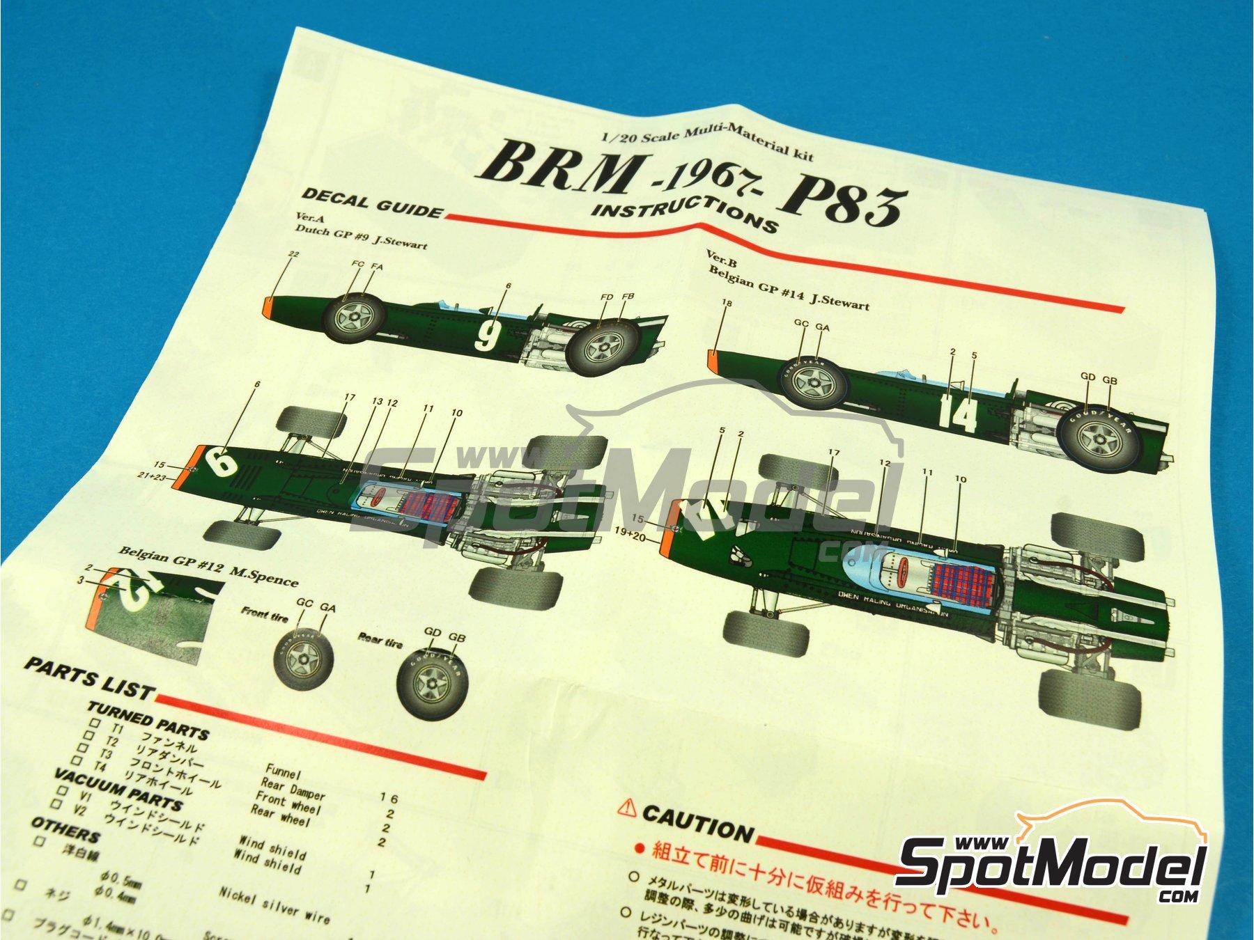 Image 6: BRM H-16 - Gran Premio de Fórmula 1 de Belgica, Gran Premio de Formula 1 de Holanda 1967 | Maqueta de coche en escala1/43 fabricado por Model Factory Hiro (ref.MFH-K415, tambien K-415)