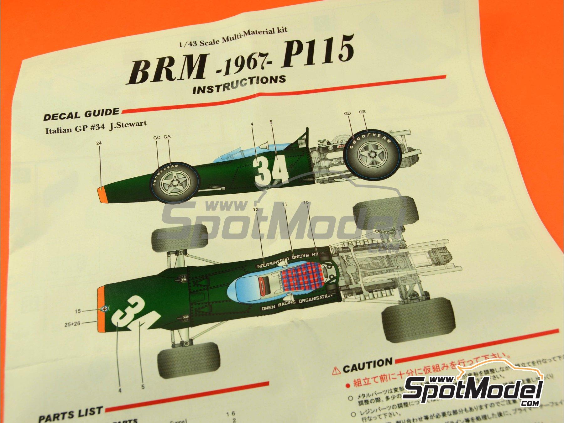 Image 2: BRM H-16 - Gran Premio de Fórmula 1 de Italia 1967 | Maqueta de coche en escala1/43 fabricado por Model Factory Hiro (ref.MFH-K417, tambien K-417)