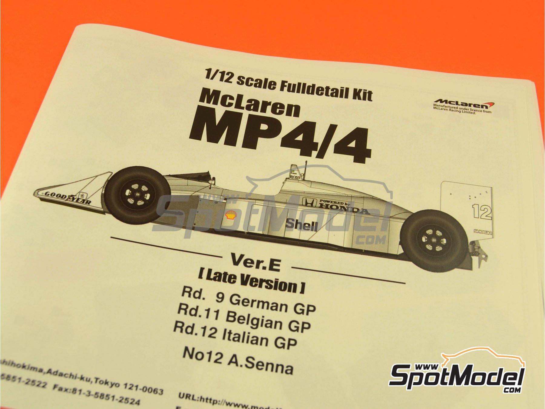 Image 1: McLaren Honda MP4/4 Marlboro - Gran Premio de Fórmula 1 de Alemania, Gran Premio de Fórmula 1 de Belgica, Gran Premio de Fórmula 1 de Italia 1988 | Maqueta de coche en escala1/12 fabricado por Model Factory Hiro (ref.MFH-K427, tambien K-427)
