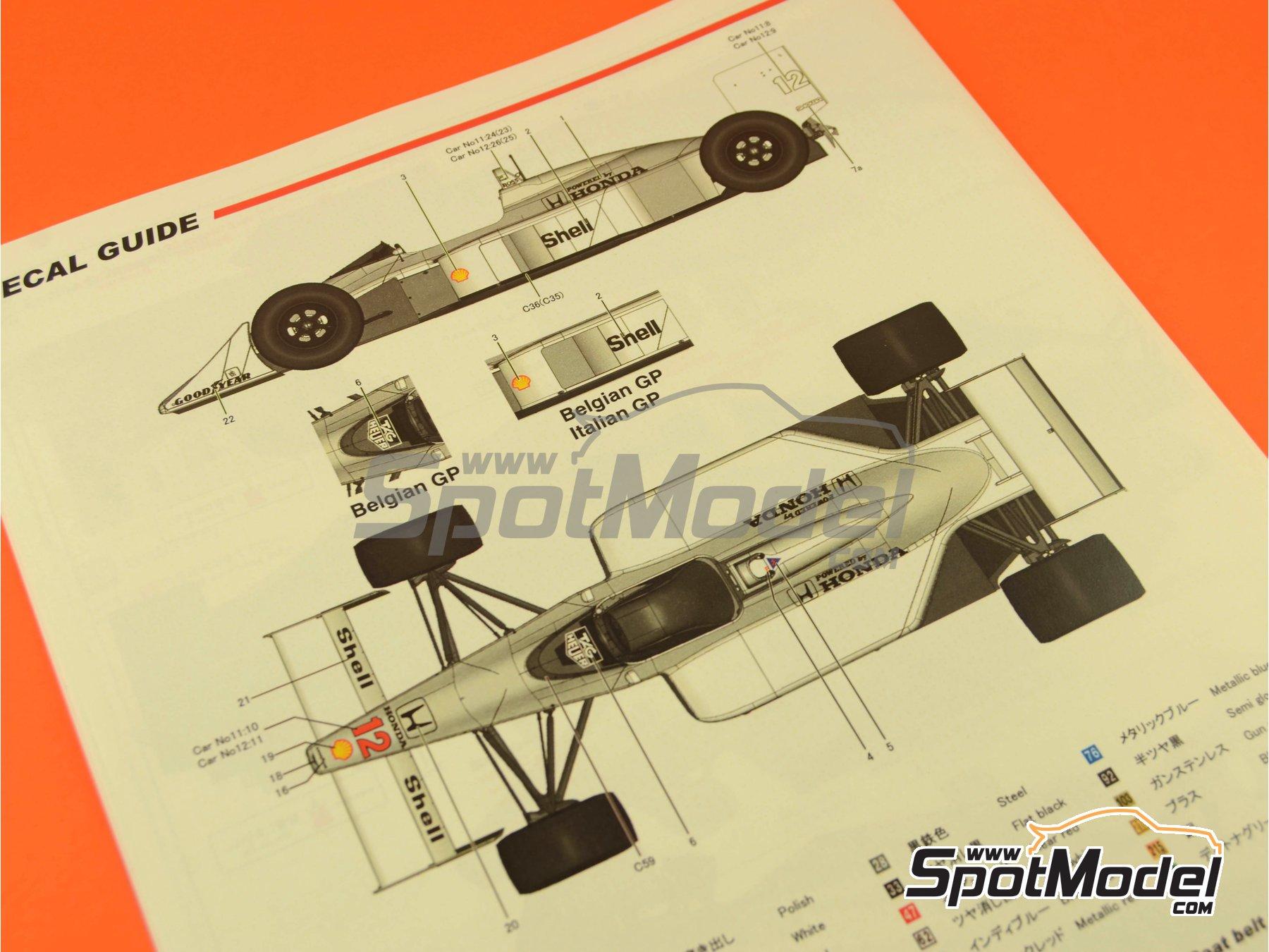 Image 22: McLaren Honda MP4/4 Marlboro - Gran Premio de Fórmula 1 de Alemania, Gran Premio de Fórmula 1 de Belgica, Gran Premio de Fórmula 1 de Italia 1988 | Maqueta de coche en escala1/12 fabricado por Model Factory Hiro (ref.MFH-K427, tambien K-427)