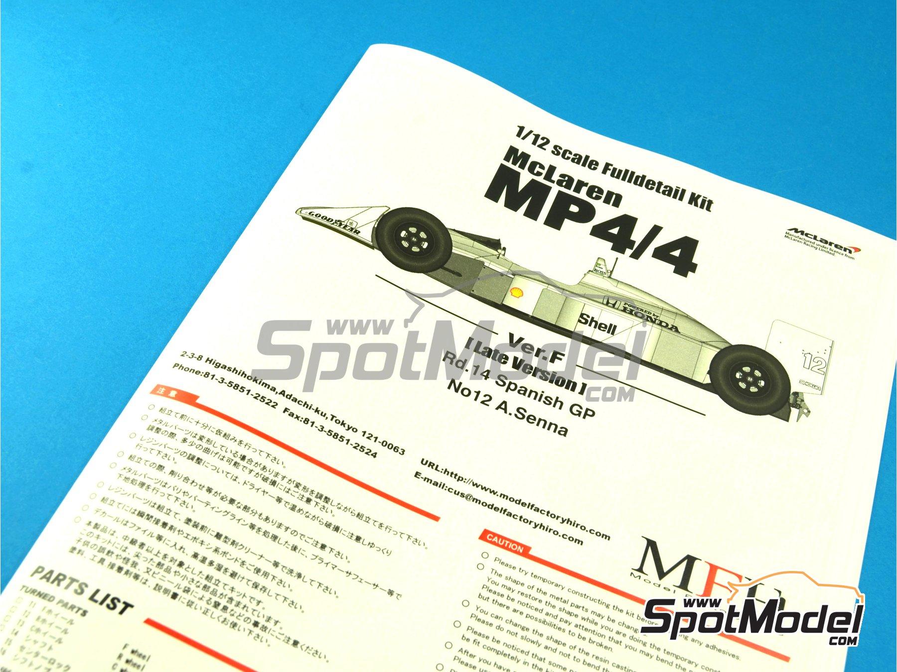 Image 1: McLaren Honda MP4/4 Marlboro - Spanish Formula 1 Grand Prix 1988 | Model car kit in 1/12 scale manufactured by Model Factory Hiro (ref.MFH-K428, also K-428)