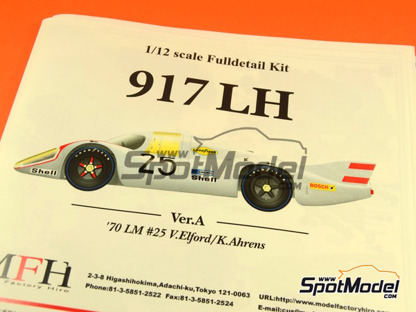 Image 1: Porsche 917LH Shell - 24 Hours Le Mans 1970 | Model car kit in 1/12 scale manufactured by Model Factory Hiro (ref. MFH-K437)