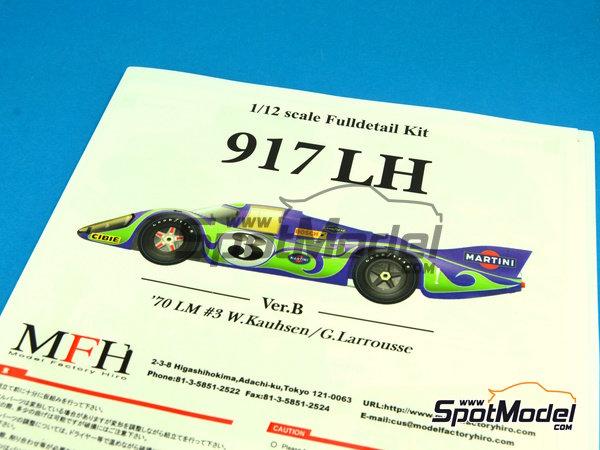 Image 2: Porsche 917LH Psychedelic Martini Racing - 24 Horas de Le Mans 1970 | Maqueta de coche en escala1/12 fabricado por Model Factory Hiro (ref.MFH-K438, tambien K-438)