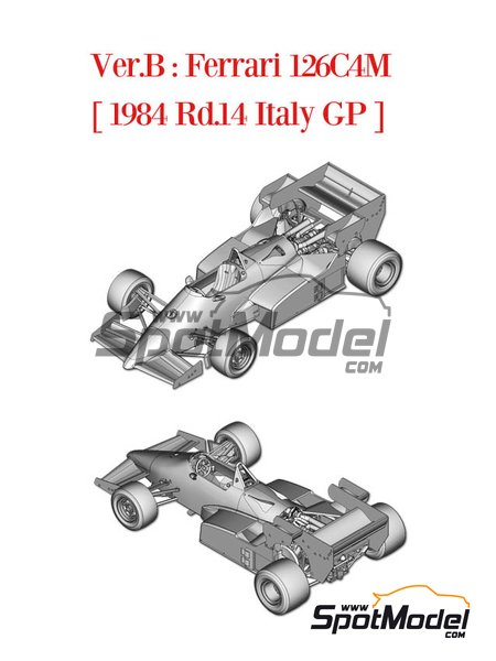 Ferrari 126C4M Fiat Agip - Italian Formula 1 Grand Prix 1984 | Model car kit in 1/43 scale manufactured by Model Factory Hiro (ref. MFH-K443) image
