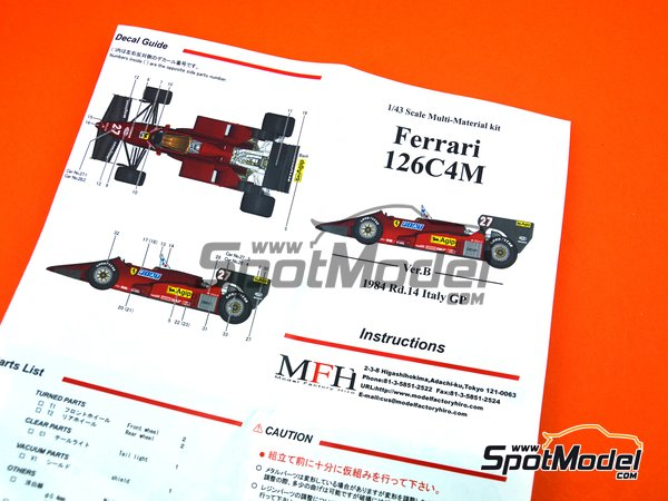 Image 7: Ferrari 126C4M Fiat Agip - Italian Formula 1 Grand Prix 1984 | Model car kit in 1/43 scale manufactured by Model Factory Hiro (ref. MFH-K443)