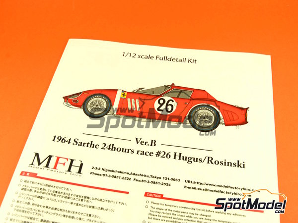 Image 1: Ferrari 250 GTO chassis 4399GT North American Racing Team - 24 Hours Le Mans 1964 | Model car kit in 1/12 scale manufactured by Model Factory Hiro (ref.MFH-K446, also K-446)