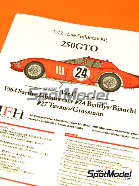 Ferrari 250 GTO - 24 Hours Le Mans 1964 | Model car kit in 1/12 scale manufactured by Model Factory Hiro (ref.MFH-K447, also K-447) image