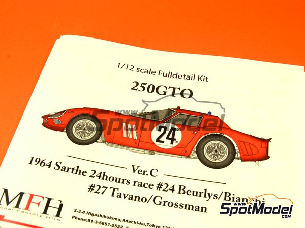 Image 1: Ferrari 250 GTO - 24 Hours Le Mans 1964 | Model car kit in 1/12 scale manufactured by Model Factory Hiro (ref.MFH-K447, also K-447)