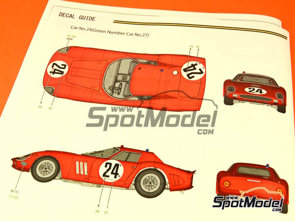Image 2: Ferrari 250 GTO - 24 Hours Le Mans 1964 | Model car kit in 1/12 scale manufactured by Model Factory Hiro (ref.MFH-K447, also K-447)