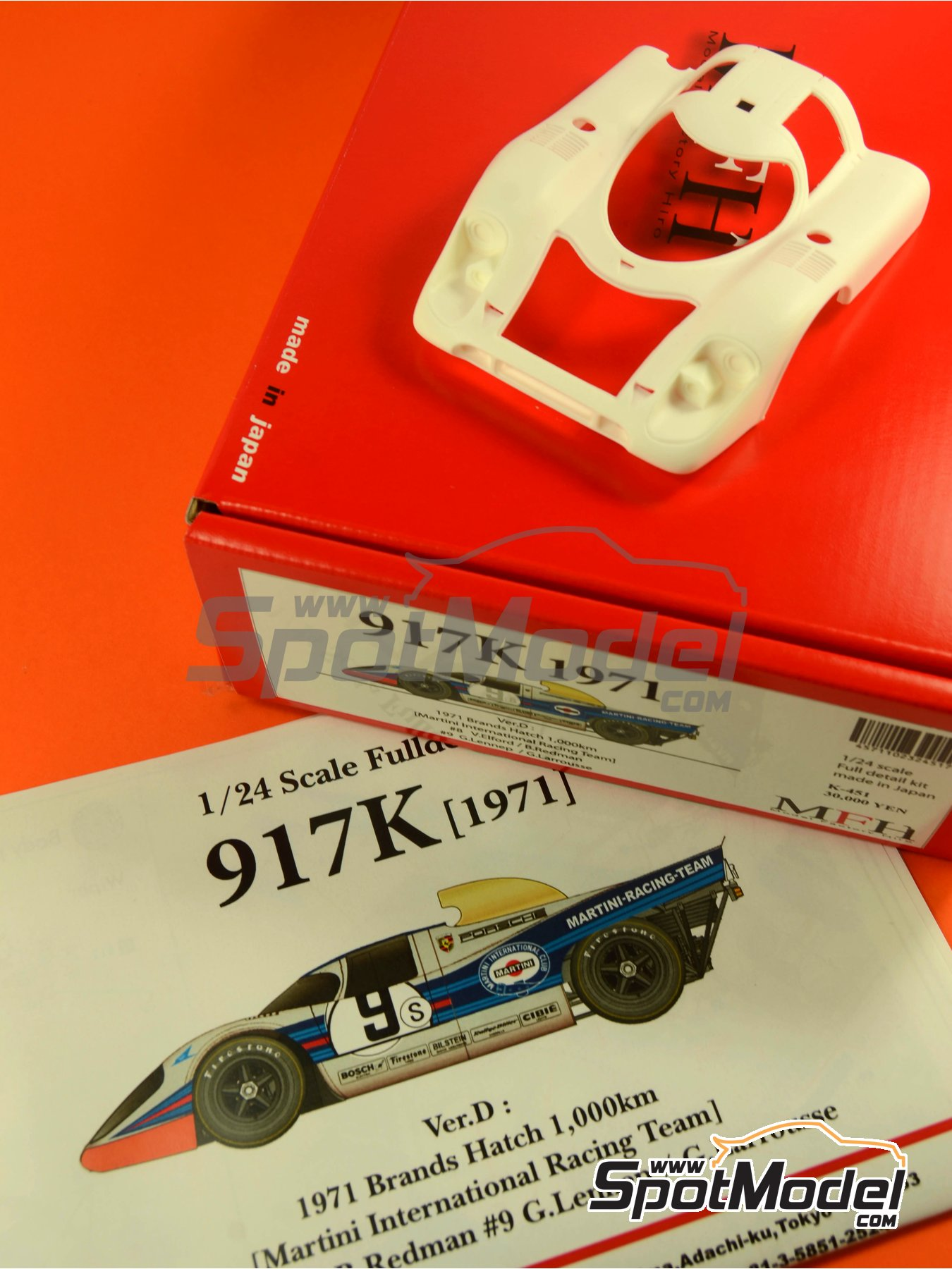Porsche 917K Martini - 1000 Kms Brands Hatch 1971 | Model car kit in 1/24 scale manufactured by Model Factory Hiro (ref.MFH-K451, also K-451) image