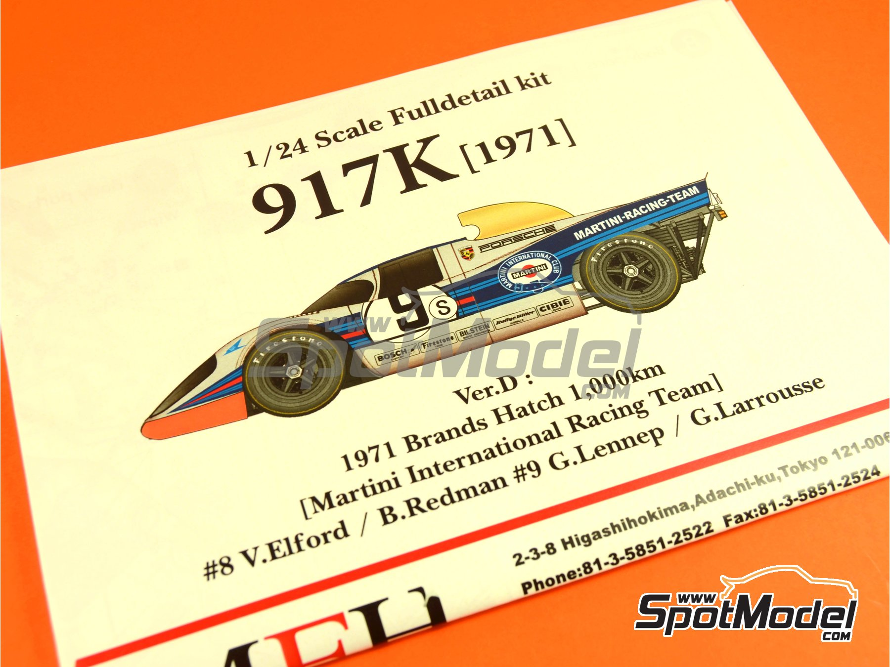 Image 1: Porsche 917K Martini - 1000 Kms Brands Hatch 1971 | Model car kit in 1/24 scale manufactured by Model Factory Hiro (ref.MFH-K451, also K-451)