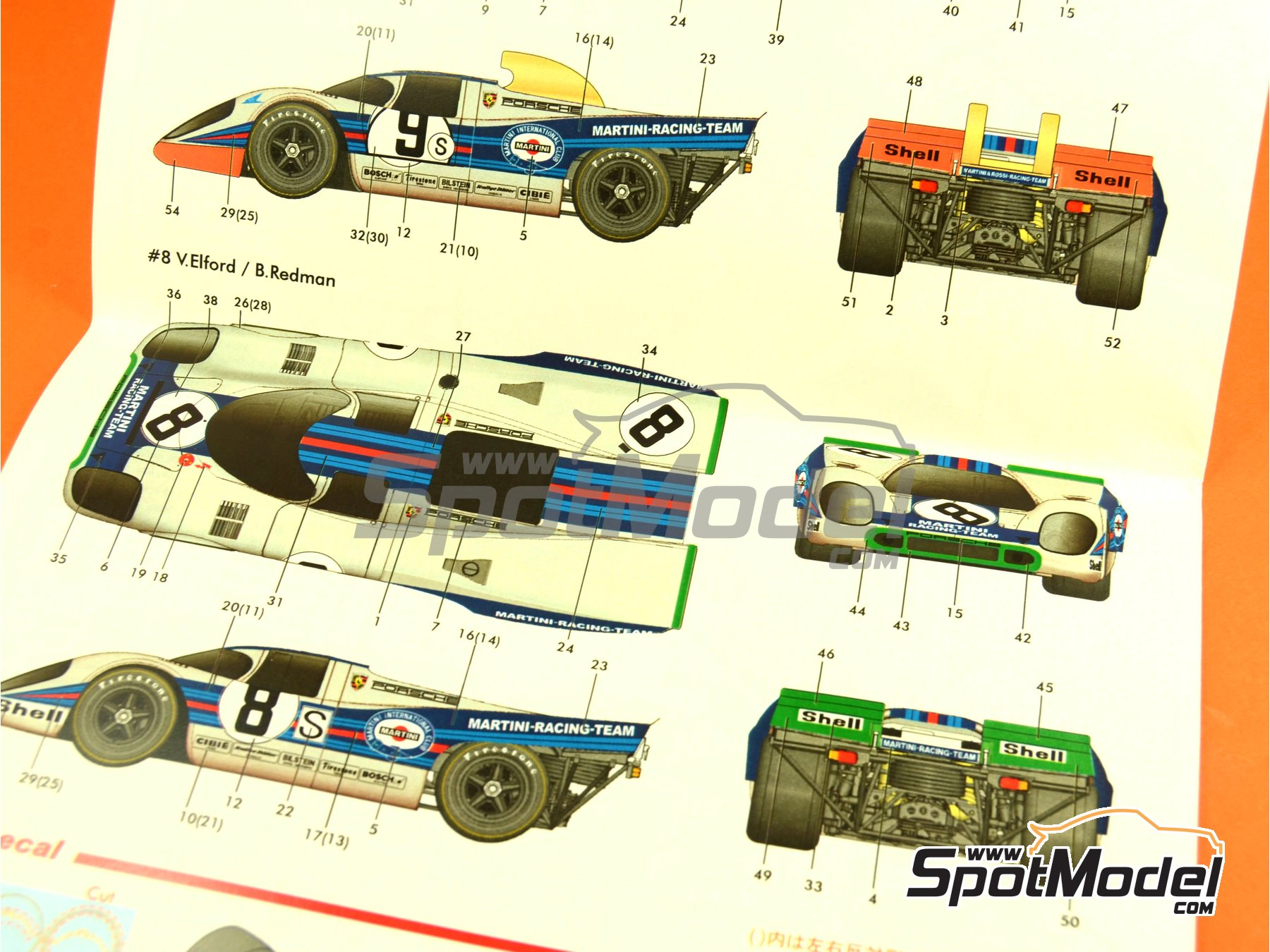 Image 4: Porsche 917K Martini - 1000 Kms Brands Hatch 1971 | Model car kit in 1/24 scale manufactured by Model Factory Hiro (ref.MFH-K451, also K-451)