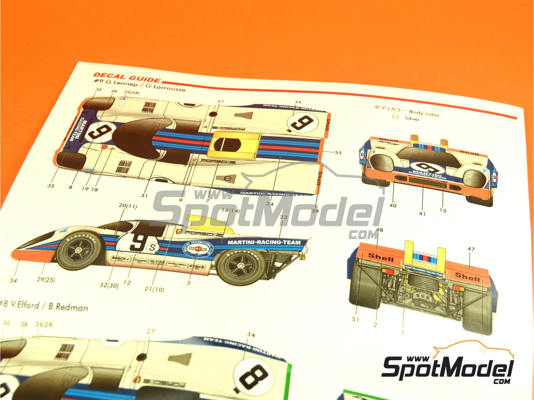 Image 5: Porsche 917K Martini - 1000 Kms Brands Hatch 1971 | Model car kit in 1/24 scale manufactured by Model Factory Hiro (ref.MFH-K451, also K-451)