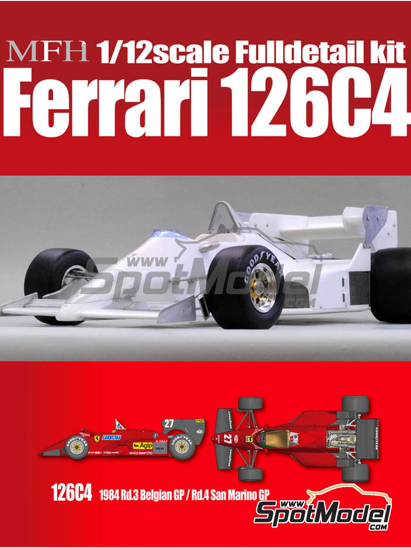 Ferrari 126C4 Fiat Agip - Belgian Formula 1 Grand Prix, San Marino Formula 1 Grand Prix 1984   Model car kit in 1/12 scale manufactured by Model Factory Hiro (ref.MFH-K469, also K-469) image