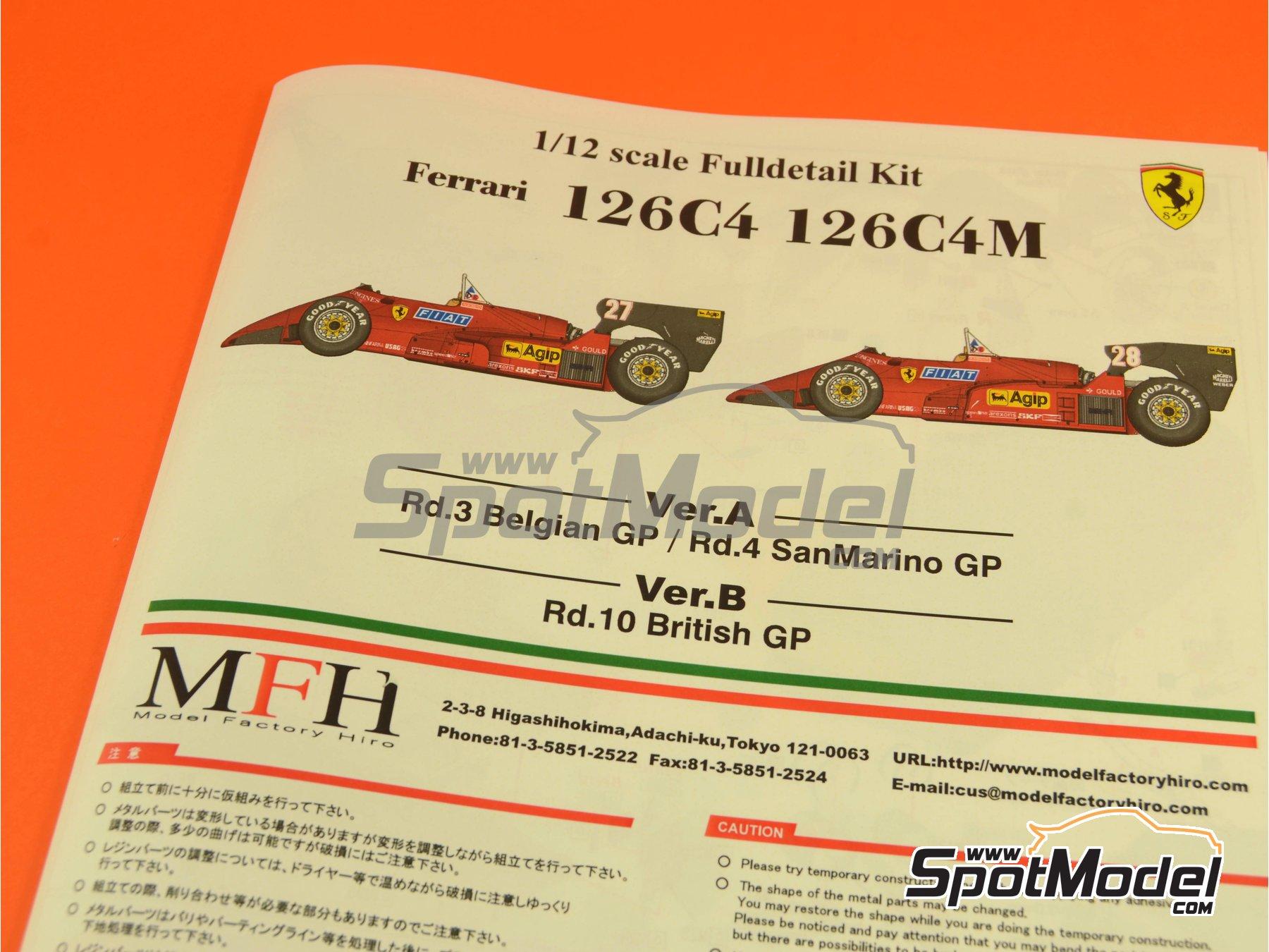 Image 28: Ferrari 126C4 Fiat Agip - Belgian Formula 1 Grand Prix, San Marino Formula 1 Grand Prix 1984   Model car kit in 1/12 scale manufactured by Model Factory Hiro (ref.MFH-K469, also K-469)