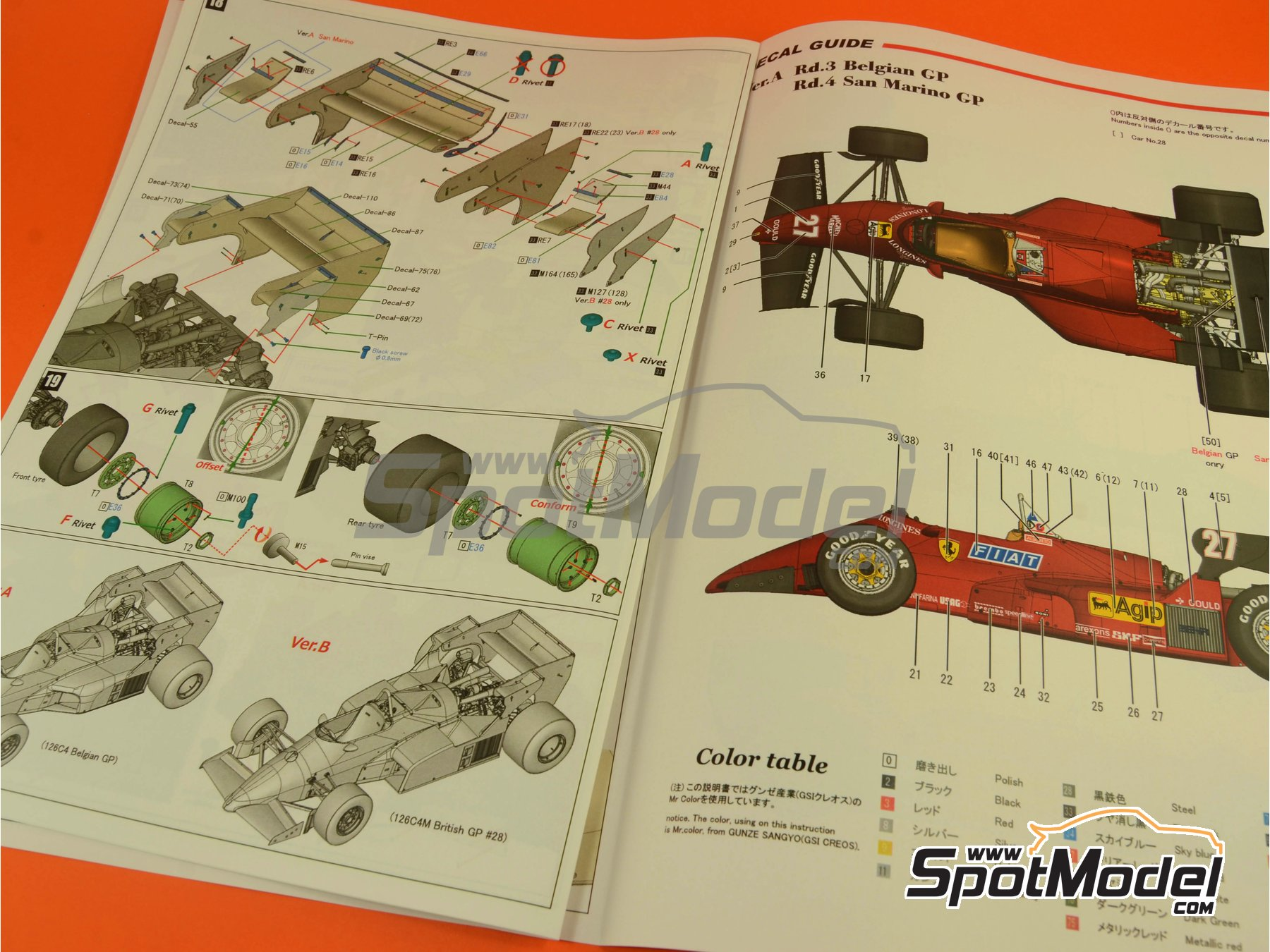 Image 32: Ferrari 126C4 Fiat Agip - Belgian Formula 1 Grand Prix, San Marino Formula 1 Grand Prix 1984   Model car kit in 1/12 scale manufactured by Model Factory Hiro (ref.MFH-K469, also K-469)