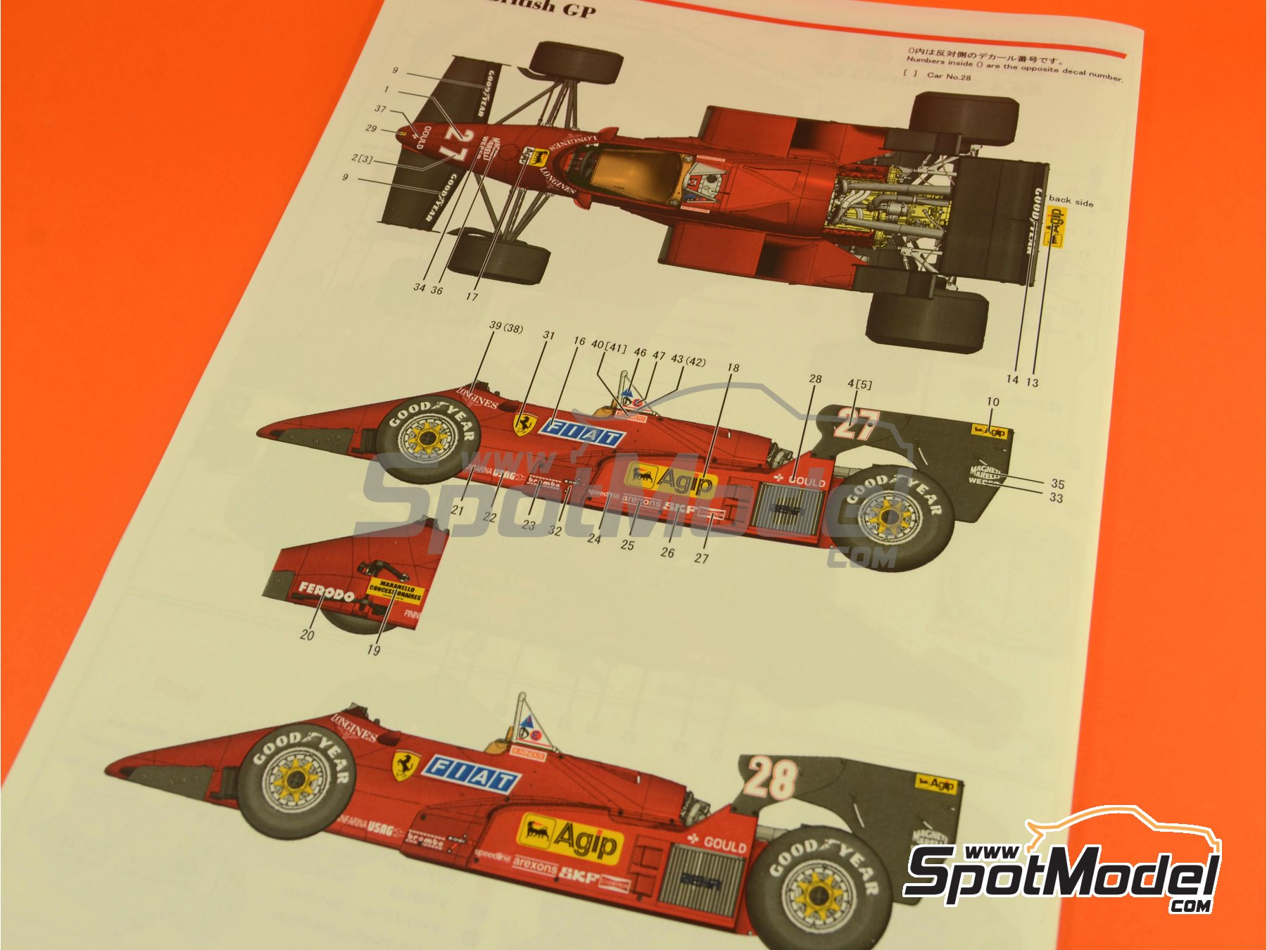 Image 33: Ferrari 126C4 Fiat Agip - Belgian Formula 1 Grand Prix, San Marino Formula 1 Grand Prix 1984   Model car kit in 1/12 scale manufactured by Model Factory Hiro (ref.MFH-K469, also K-469)