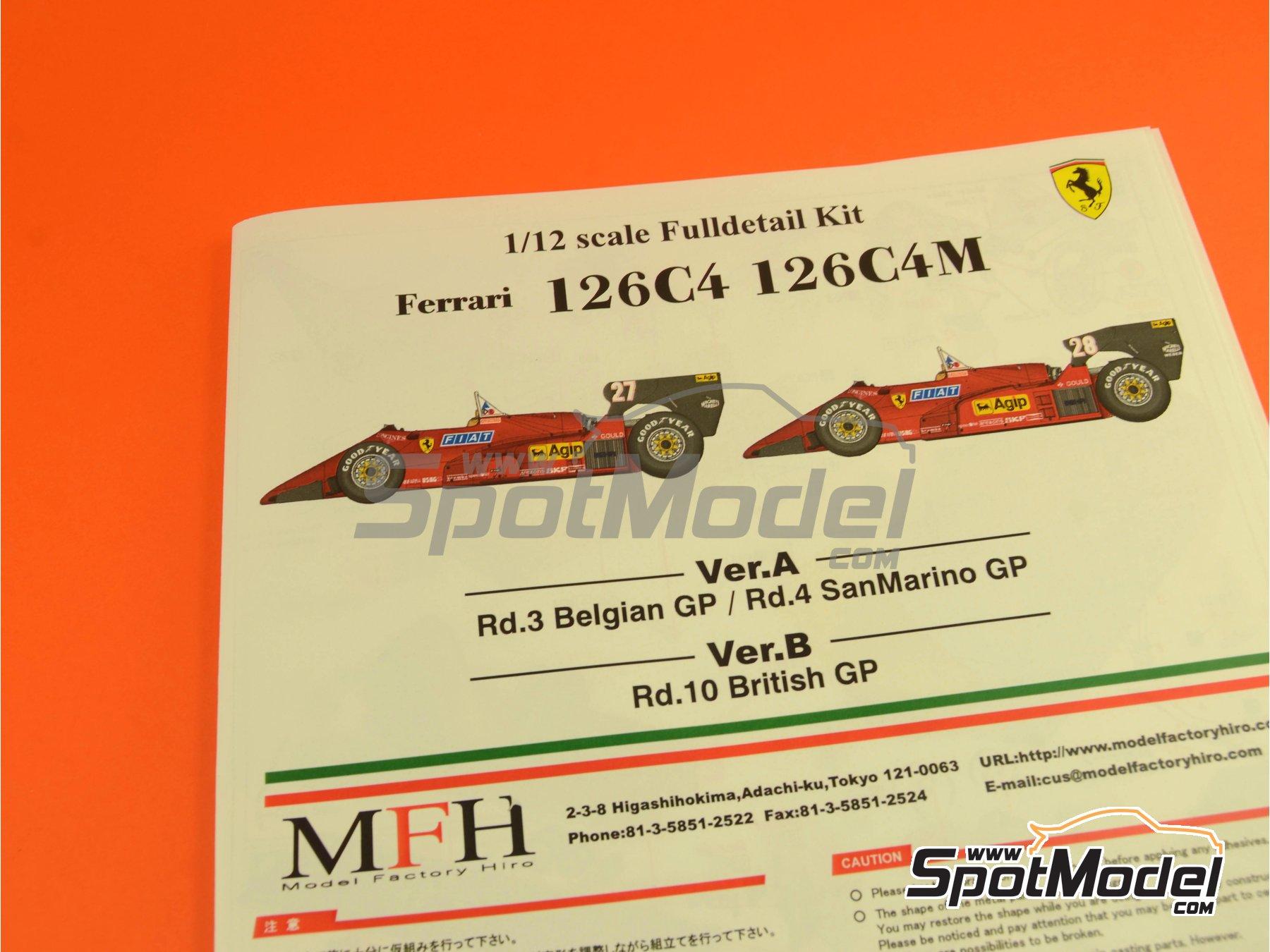 Image 32: Ferrari 126C4M Fiat Agip - Gran Premio de Fórmula 1 de Inglaterra 1984   Maqueta de coche en escala1/12 fabricado por Model Factory Hiro (ref.MFH-K470, tambien K-470)
