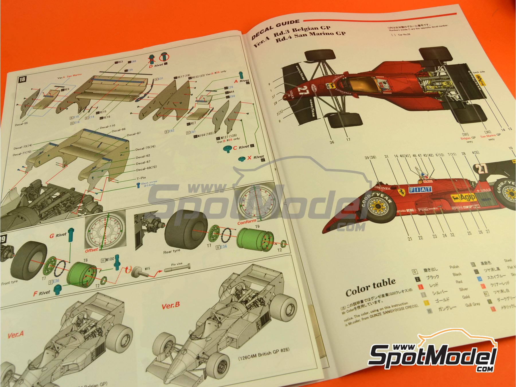 Image 37: Ferrari 126C4M Fiat Agip - Gran Premio de Fórmula 1 de Inglaterra 1984   Maqueta de coche en escala1/12 fabricado por Model Factory Hiro (ref.MFH-K470, tambien K-470)