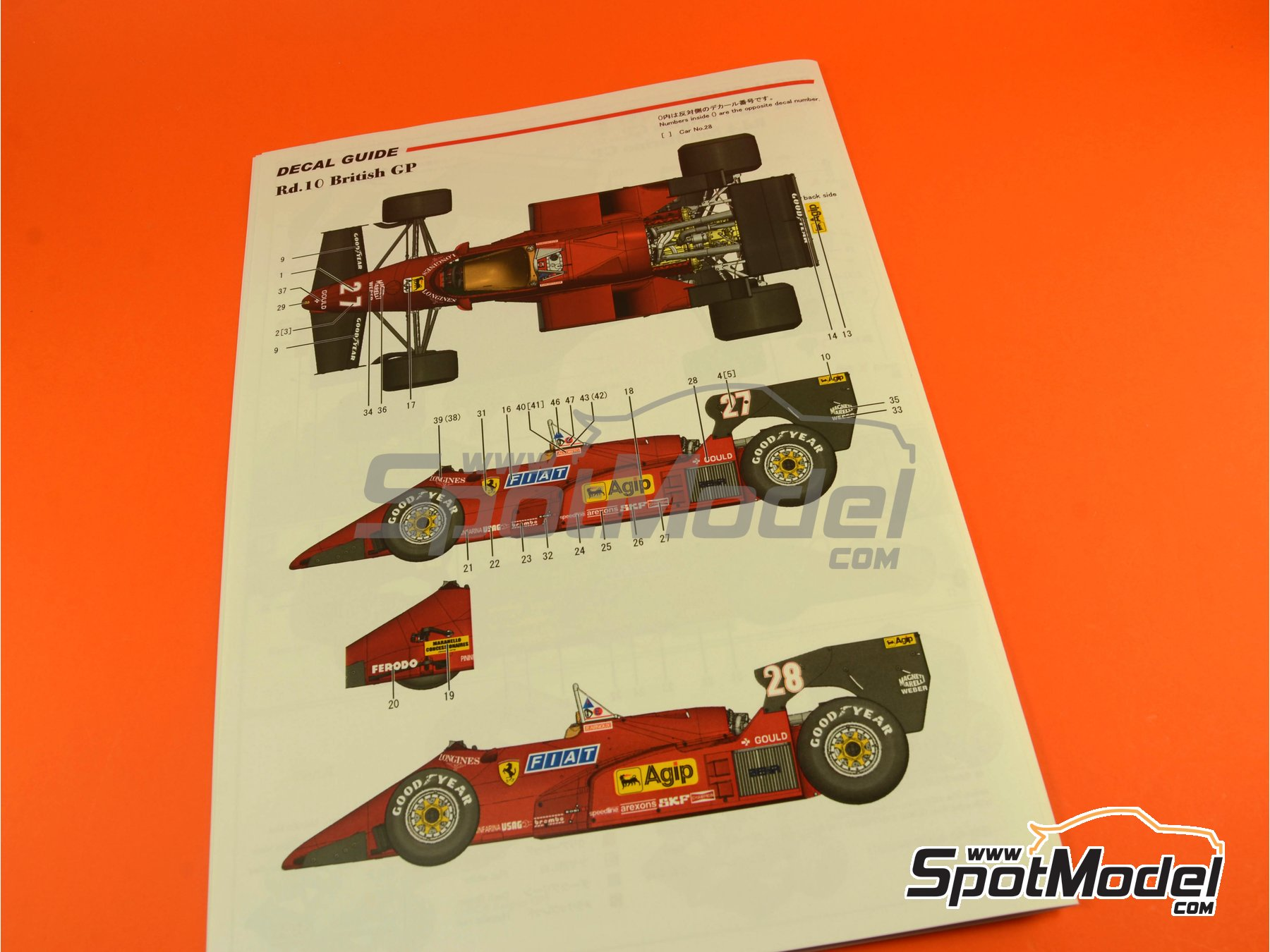 Image 38: Ferrari 126C4M Fiat Agip - Gran Premio de Fórmula 1 de Inglaterra 1984   Maqueta de coche en escala1/12 fabricado por Model Factory Hiro (ref.MFH-K470, tambien K-470)