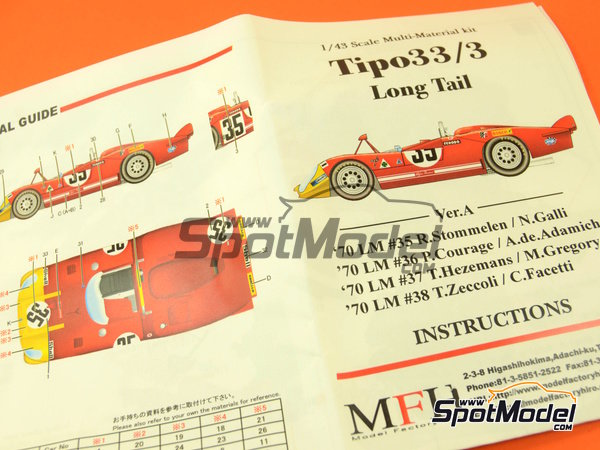 Image 12: Alfa Romeo Tipo 33/3 Long Tail Shell Bosch - 24 Hours Le Mans 1970 | Model car kit in 1/43 scale manufactured by Model Factory Hiro (ref. MFH-K474)