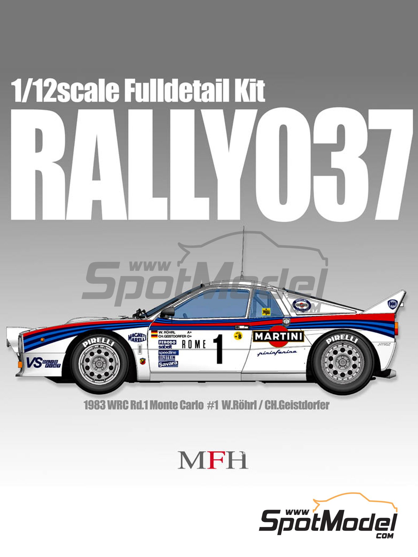 Lancia 037 Rally Martini - Montecarlo Rally - Rallye Automobile de Monte-Carlo 1983 | Model car kit in 1/12 scale manufactured by Model Factory Hiro (ref.MFH-K489, also K-489) image