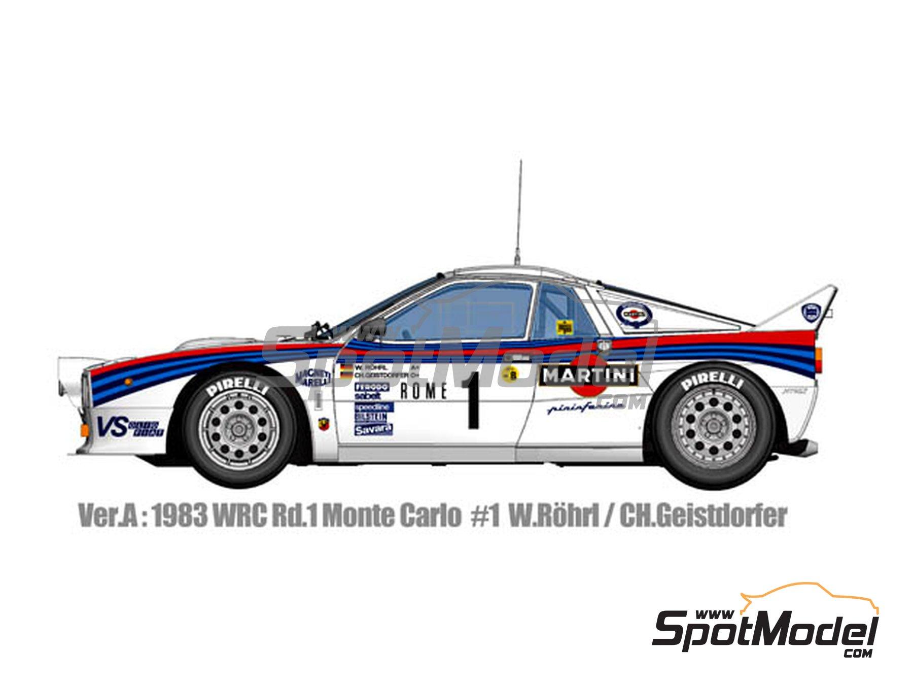 Image 1: Lancia 037 Rally Martini - Montecarlo Rally - Rallye Automobile de Monte-Carlo 1983 | Model car kit in 1/12 scale manufactured by Model Factory Hiro (ref.MFH-K489, also K-489)