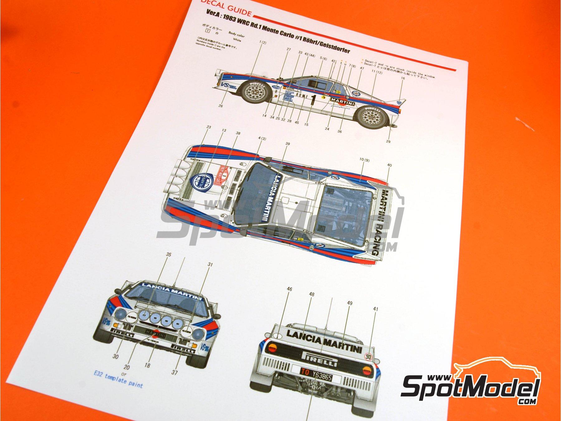 Image 30: Lancia 037 Rally Martini - Montecarlo Rally - Rallye Automobile de Monte-Carlo 1983 | Model car kit in 1/12 scale manufactured by Model Factory Hiro (ref.MFH-K489, also K-489)