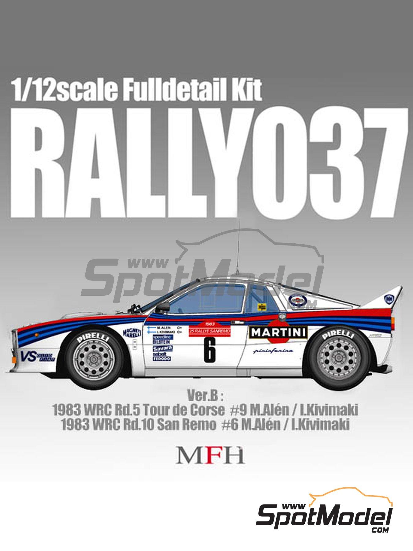 Lancia 037 Rally Martini - Sanremo Rally, Tour de Corse 1983 | Model car kit in 1/12 scale manufactured by Model Factory Hiro (ref.MFH-K490, also K-490) image