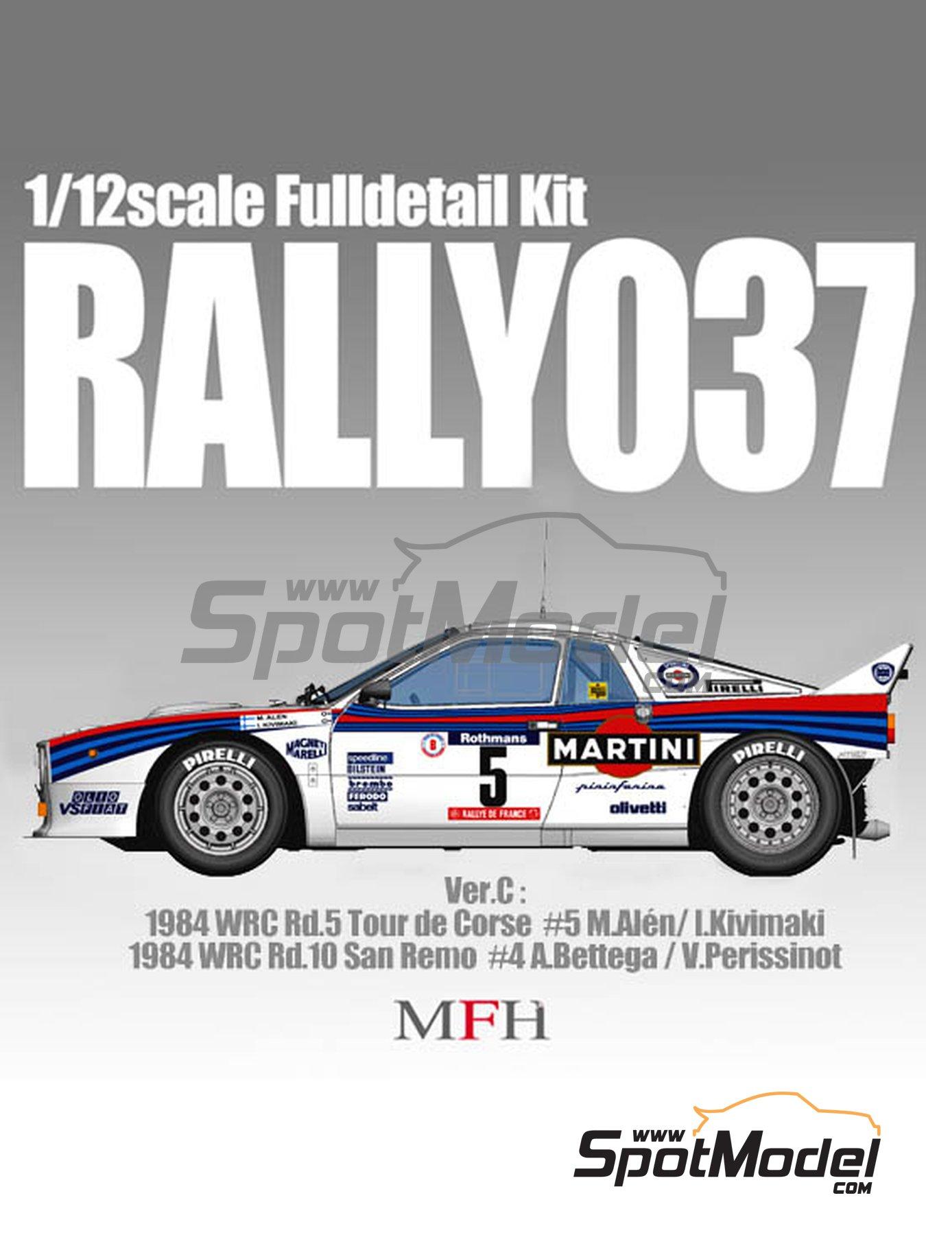 Lancia 037 Rally Martini - Sanremo Rally, Tour de Corse 1984   Model car kit in 1/12 scale manufactured by Model Factory Hiro (ref.MFH-K491, also K-491) image