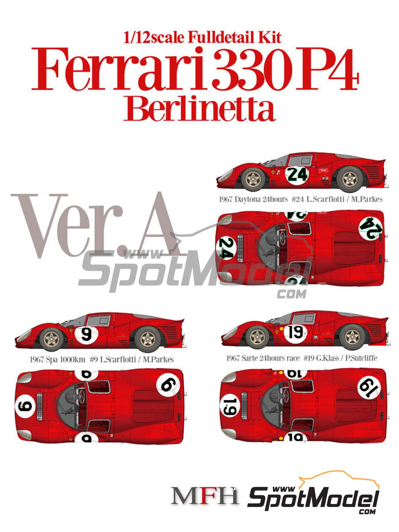 Ferrari 330P4 Berlinetta - 24 Hours of Daytona, 24 Hours Le Mans, 1000 Kms SPA 1967 | Model car kit in 1/12 scale manufactured by Model Factory Hiro (ref. MFH-K492, also K-492) image