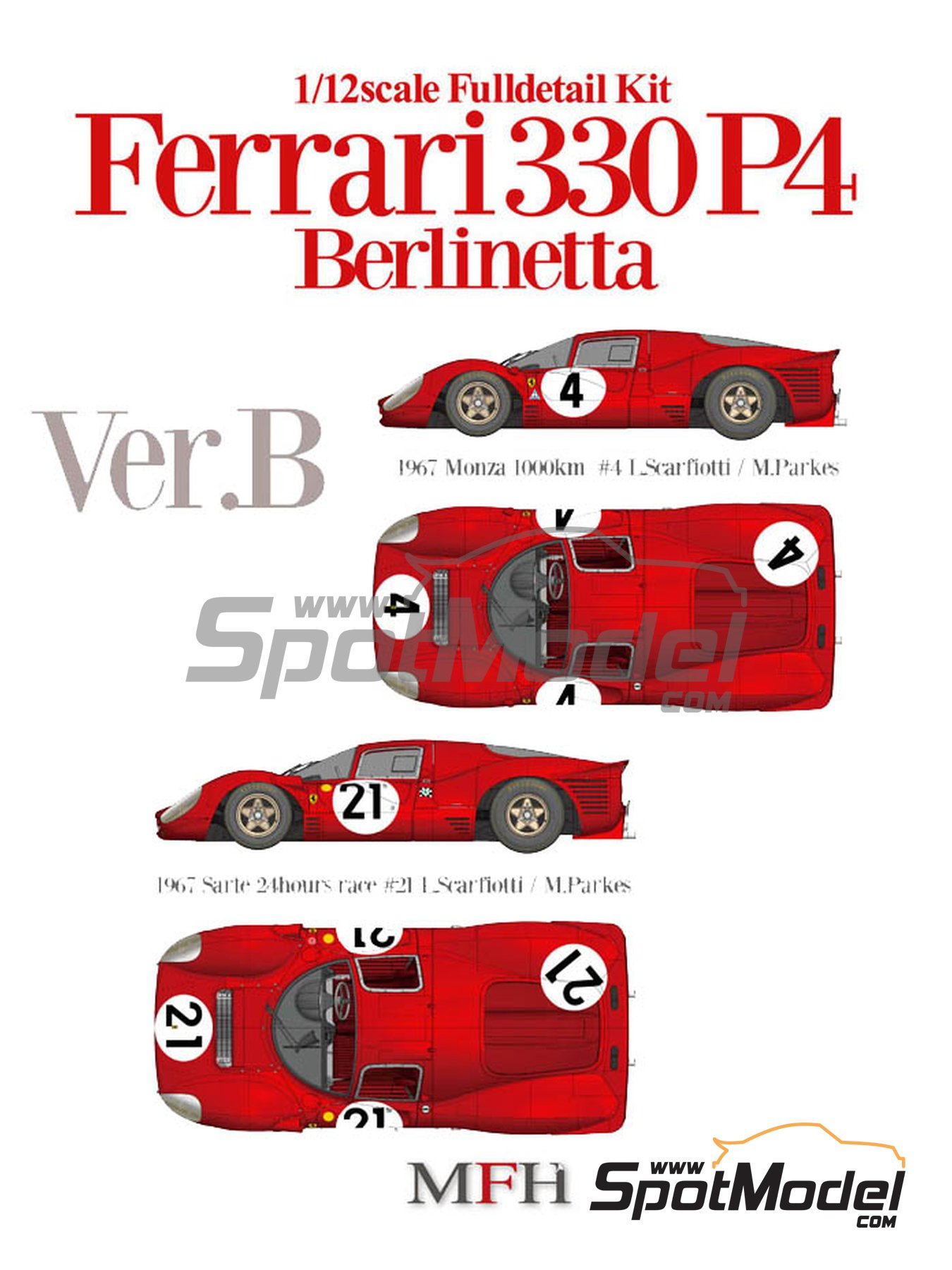 Ferrari 330P4 Berlinetta - 1000 Kms Monza, 24 Hours Le Mans 1967 | Model car kit in 1/12 scale manufactured by Model Factory Hiro (ref.MFH-K493, also K-493) image