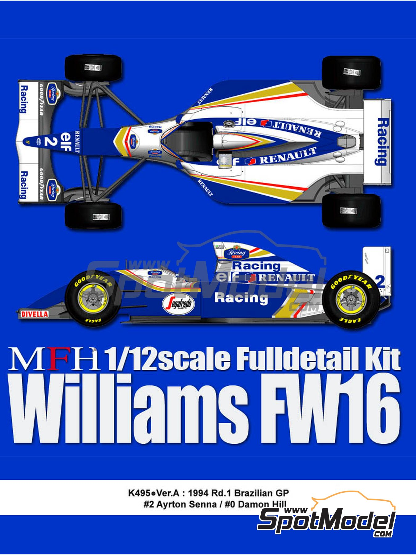 Williams Renault FW16 Rothmans - Brazilian Formula 1 Grand Prix 1994 | Model car kit in 1/12 scale manufactured by Model Factory Hiro (ref. MFH-K495, also K-495) image