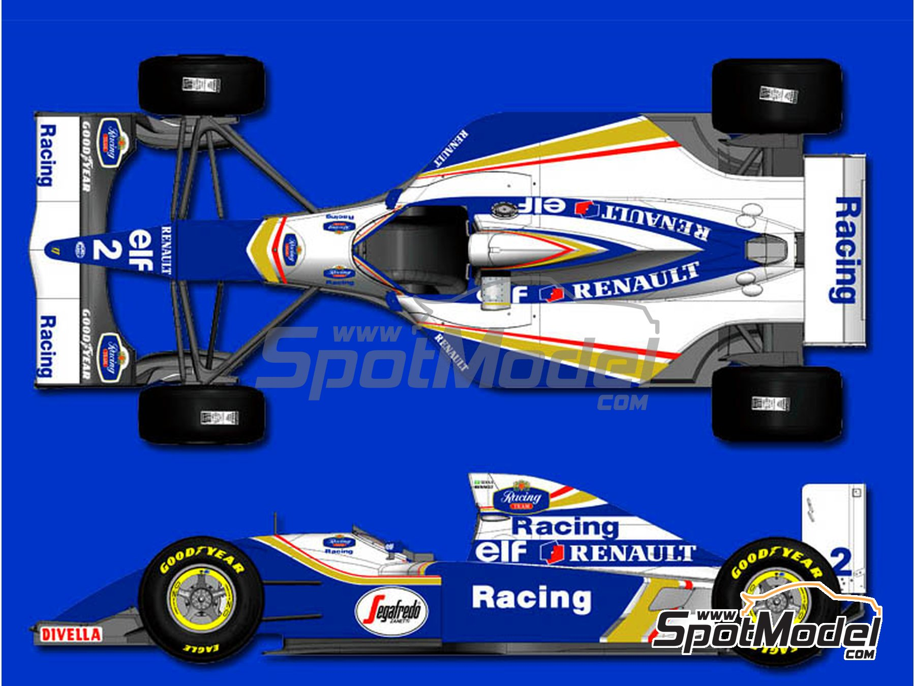 Image 13: Williams Renault FW16 Rothmans - Brazilian Formula 1 Grand Prix 1994 | Model car kit in 1/12 scale manufactured by Model Factory Hiro (ref. MFH-K495, also K-495)