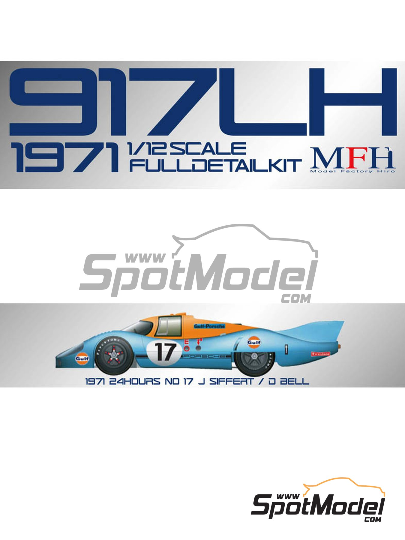 Porsche 917LH Gulf - 24 Hours Le Mans 1971 | Model car kit in 1/12 scale manufactured by Model Factory Hiro (ref. MFH-K498, also K-498) image