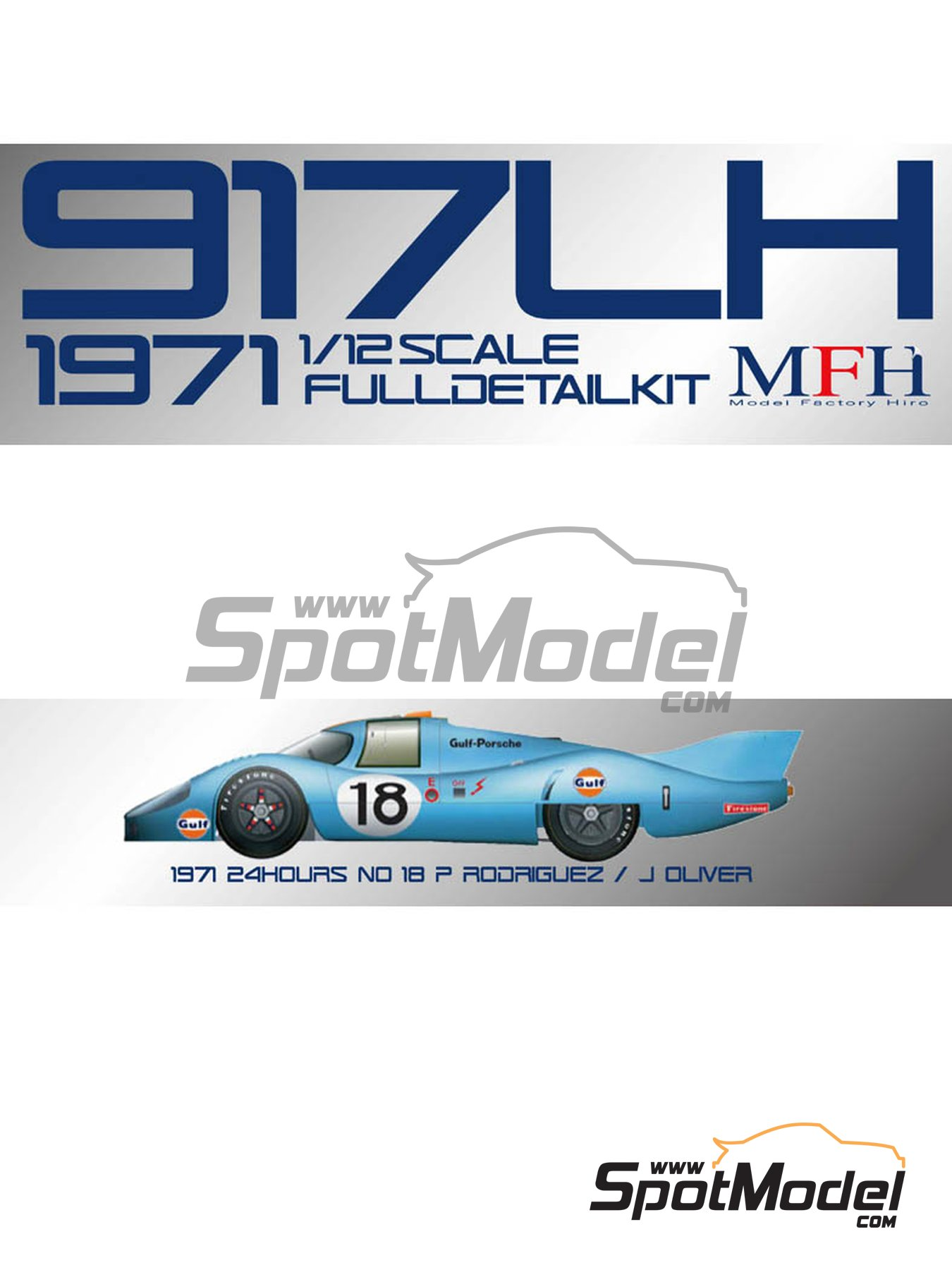 Porsche 917 LH Gulf - 24 Hours Le Mans 1971 | Model car kit in 1/12 scale manufactured by Model Factory Hiro (ref.MFH-K500, also K-500) image