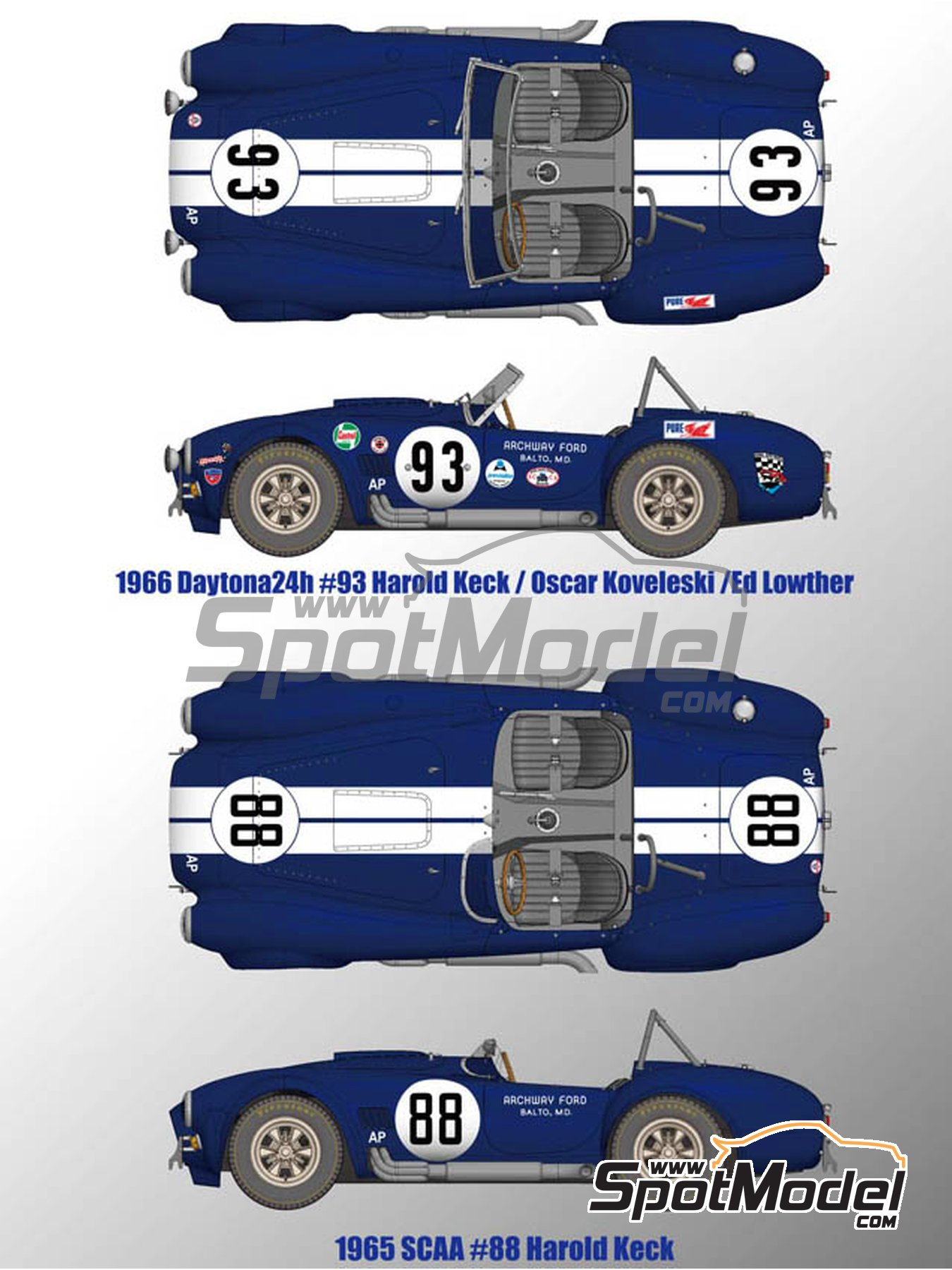 Shelby 427 Cobra - 24 Hours of Daytona 1965 and 1966 | Model car kit in 1/12 scale manufactured by Model Factory Hiro (ref.MFH-K501, also K-501) image