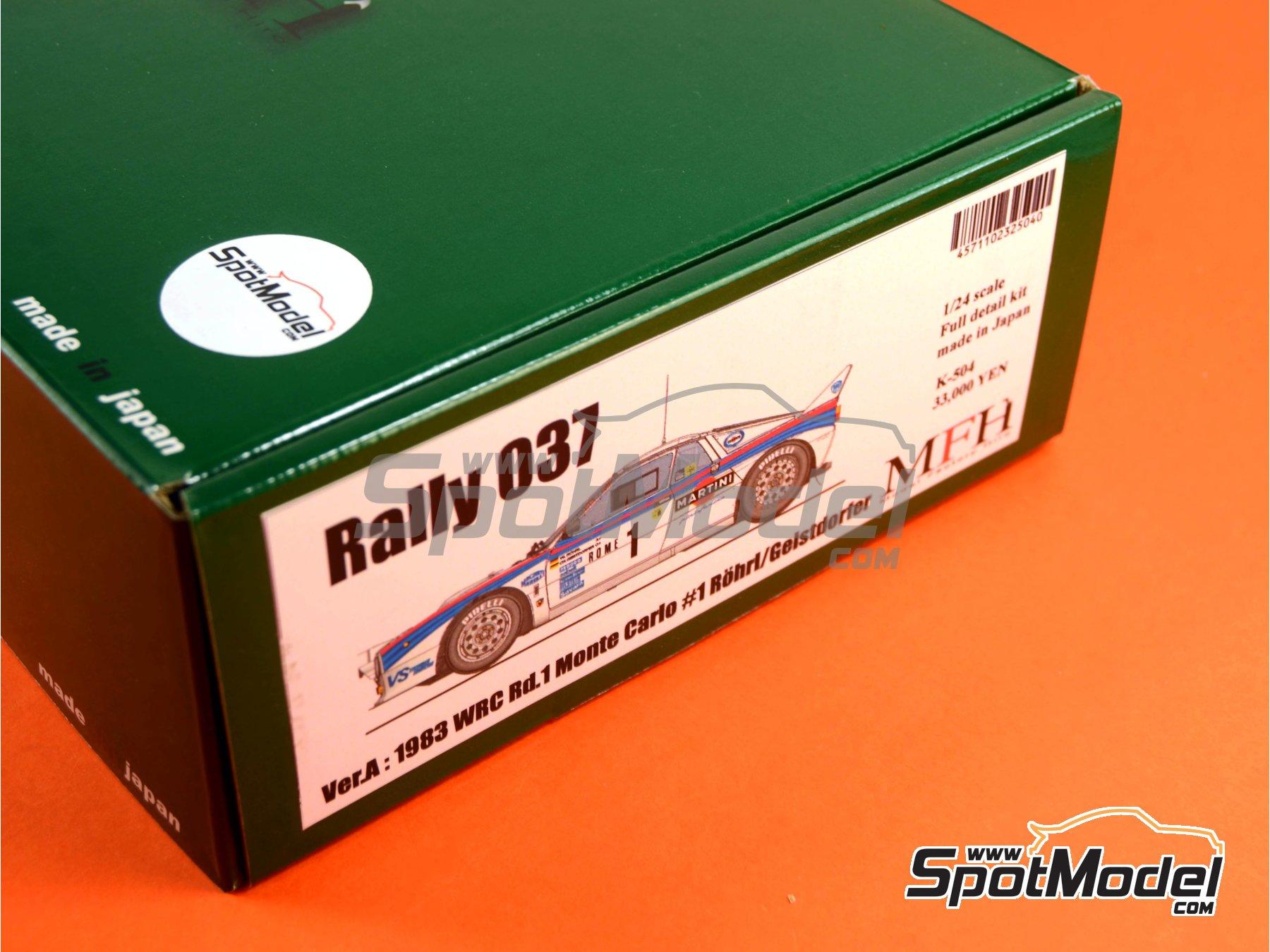 Image 1: Lancia 037 Rally Martini - Montecarlo Rally - Rallye Automobile de Monte-Carlo 1983   Model car kit in 1/24 scale manufactured by Model Factory Hiro (ref.MFH-K504, also K-504)
