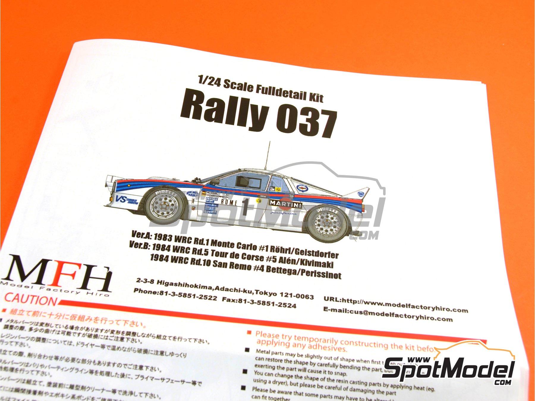 Image 21: Lancia 037 Rally Martini - Montecarlo Rally - Rallye Automobile de Monte-Carlo 1983   Model car kit in 1/24 scale manufactured by Model Factory Hiro (ref.MFH-K504, also K-504)