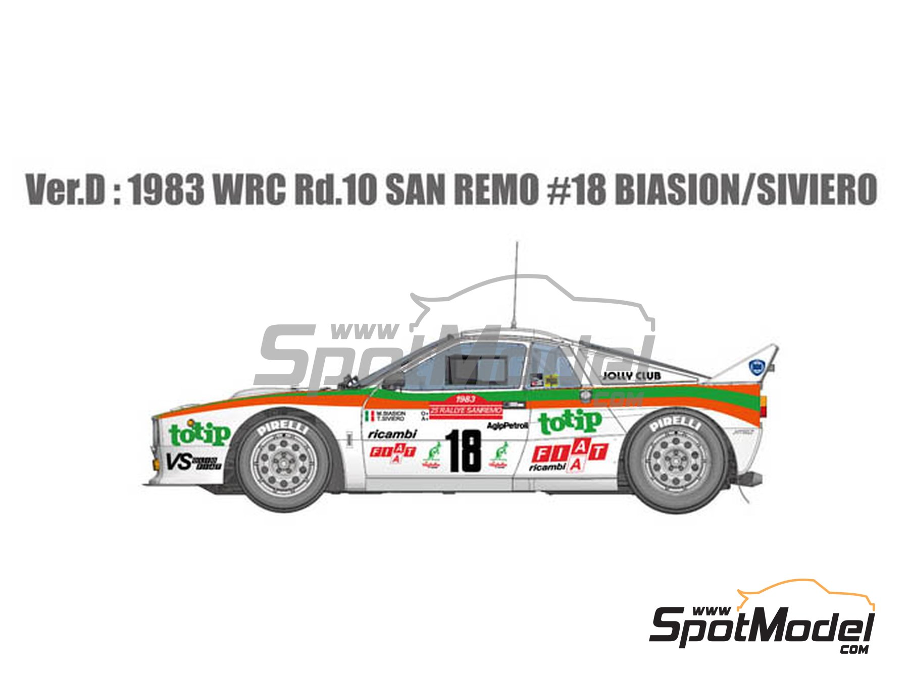 Image 1: Lancia Rally 037 Jolly Club Totip - Sanremo Rally 1983 | Model car kit in 1/12 scale manufactured by Model Factory Hiro (ref. MFH-K514, also K-514)